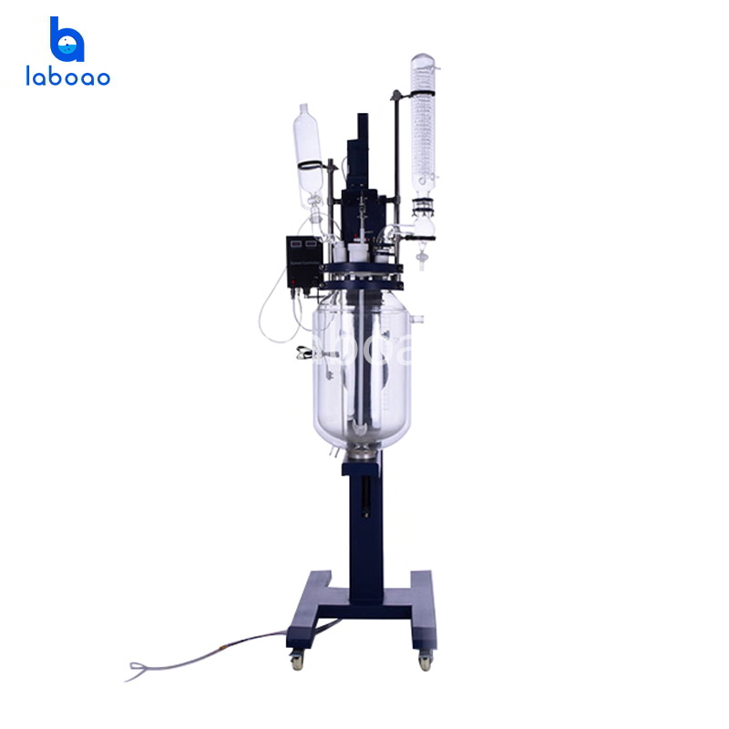 20L electric lifting jacketed glass reactor