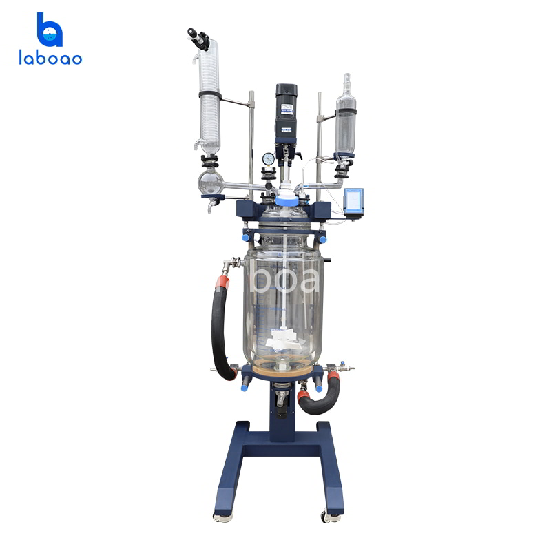 50L jacketed glass reactor with lifting and rotation